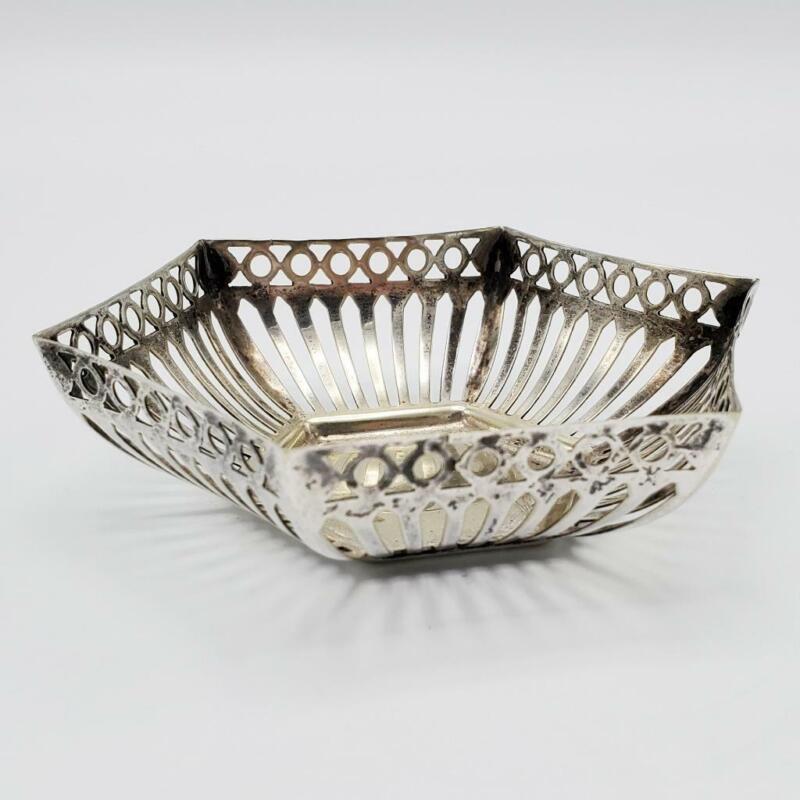 "English Silver Plated Pierced Nut Dish  Bowl 4 3/8"""