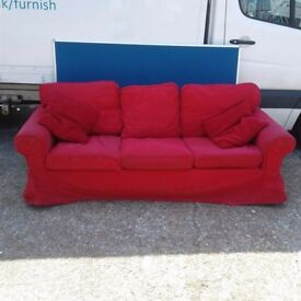 Red Cover 3 Seater Sofa