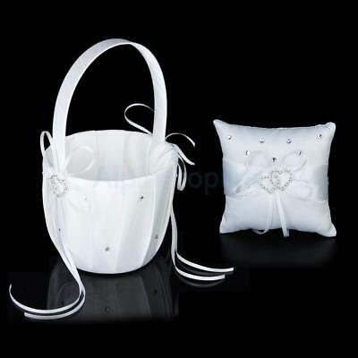 Bridal Crystal Heart Wedding Party Flower Girl Basket + Ring Bearer Pillow 4