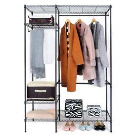 Large Wardrobe Rolling Storage Organizer with Hanger Bar. Like new.