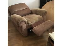 Matching armchairs one reclining