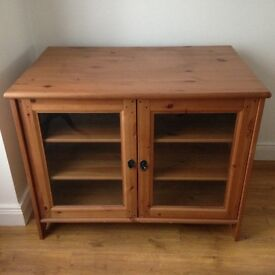 Pine glass fronted TV unit for sale