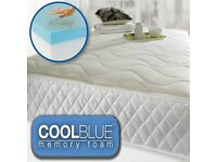 COOL BLUE MEMORY FOAM OPEN COIL MATTRESS LUXURY QUILTED DOUBLE SIZE - OTHER SIZES AVAILABLE- £159.99
