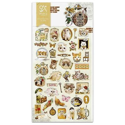 - CUTE KITTY CAT STICKERS Kawaii Nylon Sticker Sheet Craft Scrapbook Seal NEW