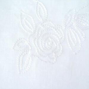 Roses embroidered white 100 cotton voile lawn fabric by the metre ebay - Voile de forcage au metre ...