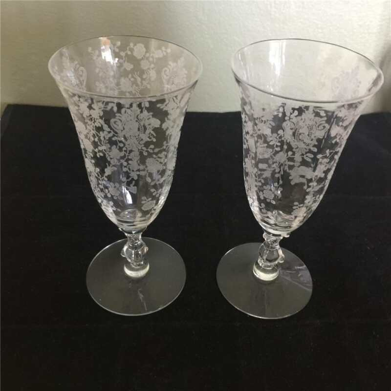 2 VINTAGE CAMBRIDGE  CRYSTAL ROSE POINT WINE GLASSES