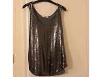 Oasis sequinned top size medium