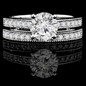 Diamod Engagement Ring Set 2.00 Set d'alliances de fiançailles en diamant