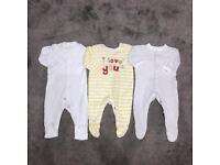 Baby boys girls unisex 0-3 months sleepsuits babygrow bundle