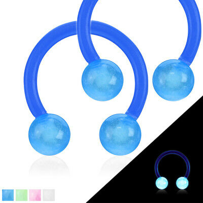 PAIR Glow in Dark Flexible Circular Barbells Septum Eyebrow Nipple Tragus Ring - Glow Dark Eyebrow Rings