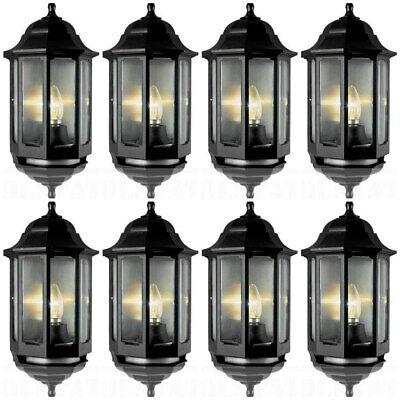 8 x ASD HL/BK060P Half Lantern Wall Lights with PIR Sensor - Black (FIN866)
