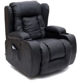 BLACK LEATHER RECLINER WITH DRINK HOLDERS, ROCKING FUNCTION AND SIDE POCKETS. EXCELLENT CONDITION