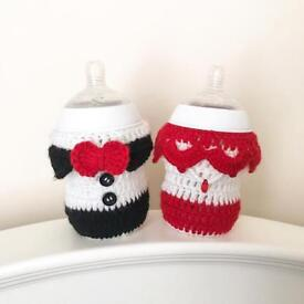 Cute Tommee Tippee crochet baby bottle covers - unique and one of a kind designs
