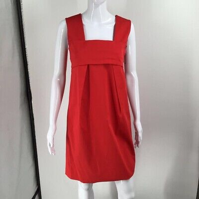 Ports 1961 Womens Shift Dress Red Sleeveless Pleated Front Square Neck 6