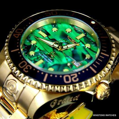 Invicta Grand Diver Green Abalone Gold Plated Steel 47mm Automatic Watch New