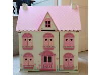 ELC Rosebud cottage with furniture and characters