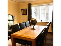 Solid Oak and Marble Dining Table ( NO CHAIRS)