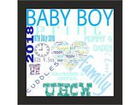 Newborn baby information frame