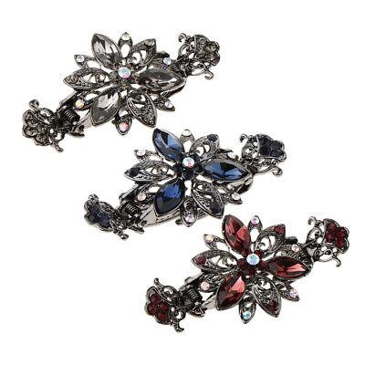 3-pack Haarspangen (3pack Vintage Metall Haarspange Klaue Blume Diamante Crystal Clamp für)