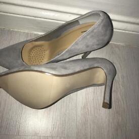 Grey suede court heels