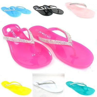 Summer Flip Flop Sandals - Women's Jelly Summer Shoes Flip Flop Thong Diamonds Sandals Slipper Flat Fashion