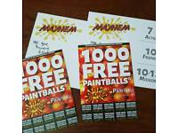 20 MAYHEM ABRIDGE PAINTBALL TICKETS COMES WITH 100 FREE PAINTBALLS PER TICKET