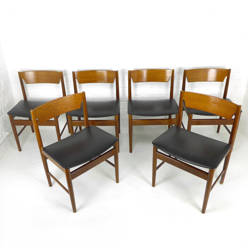 Set Of 6 Mid Century Dining Chairs by Edmund Homa GFM - DELIVERY POSS Teak Bent Ply Vintage Retro