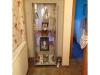 Glass mirror display cabinet