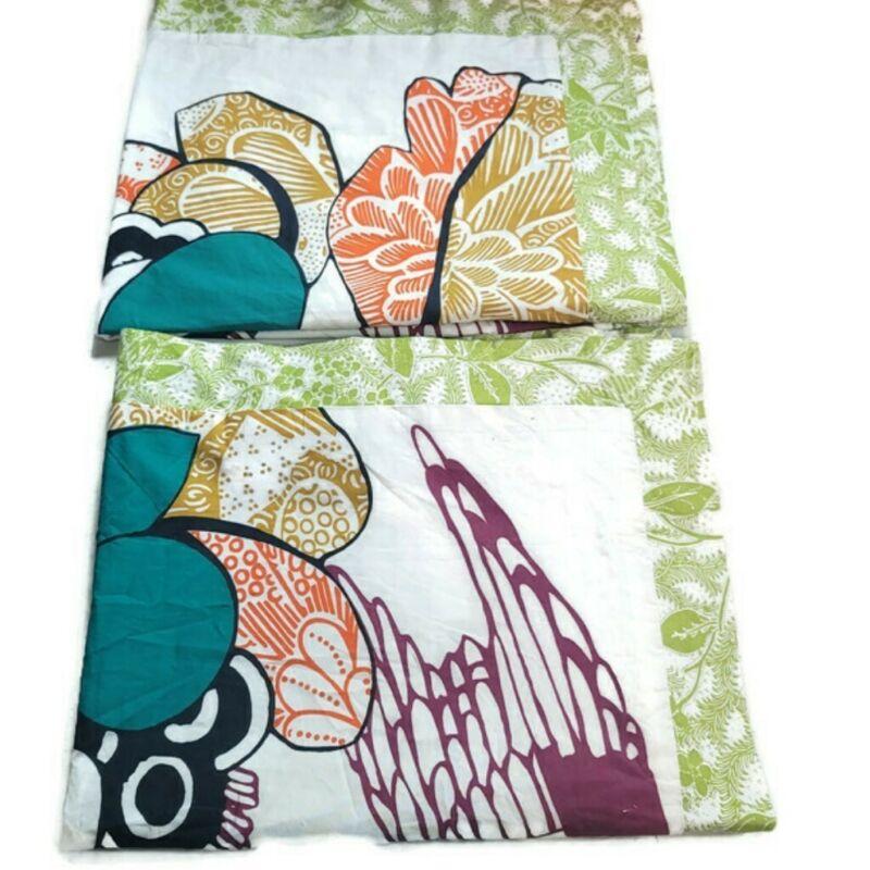 2 Anthropologie Tropical Bird Floral Print Standard Pillow Shams 100% Cotton