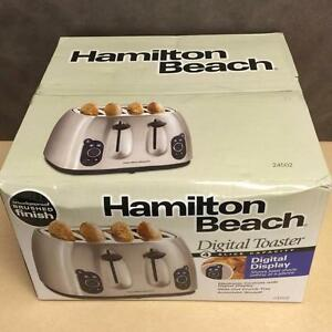 BRAND NEW, Hamilton Beach 24502 Digital 4 Slice Toaster Smudgeproof Brushed Finish