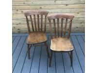 Beautiful Pair of Vintage Solid Elm Farmhouse Kitchen Chairs