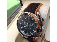 New Mens boxed canvas and rubber strap with black face silver casing omega seamaster 600 with chron