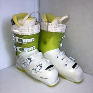 Lange XT 110 LV Downhill Ski Boots, White/Green, Womens 8 (Previously Owned) (SKU: PASTWW)
