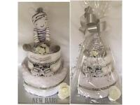 New baby gift, Baby shower Neutral 2 tier nappy cake
