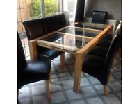 Designer made to measure kubek oak/ glass table and chairs