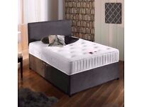 Charcoal Grey Suede Bed & Memory Foam Sprung Mattress With Free Headboard