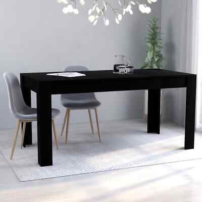 "vidaXL Dining Table Sleek Modern Black 63"" Chipboard Home Kitchen Meal Dinner"
