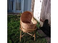 Vintage Baby Bassinet/Moses Basket Wicker Willow