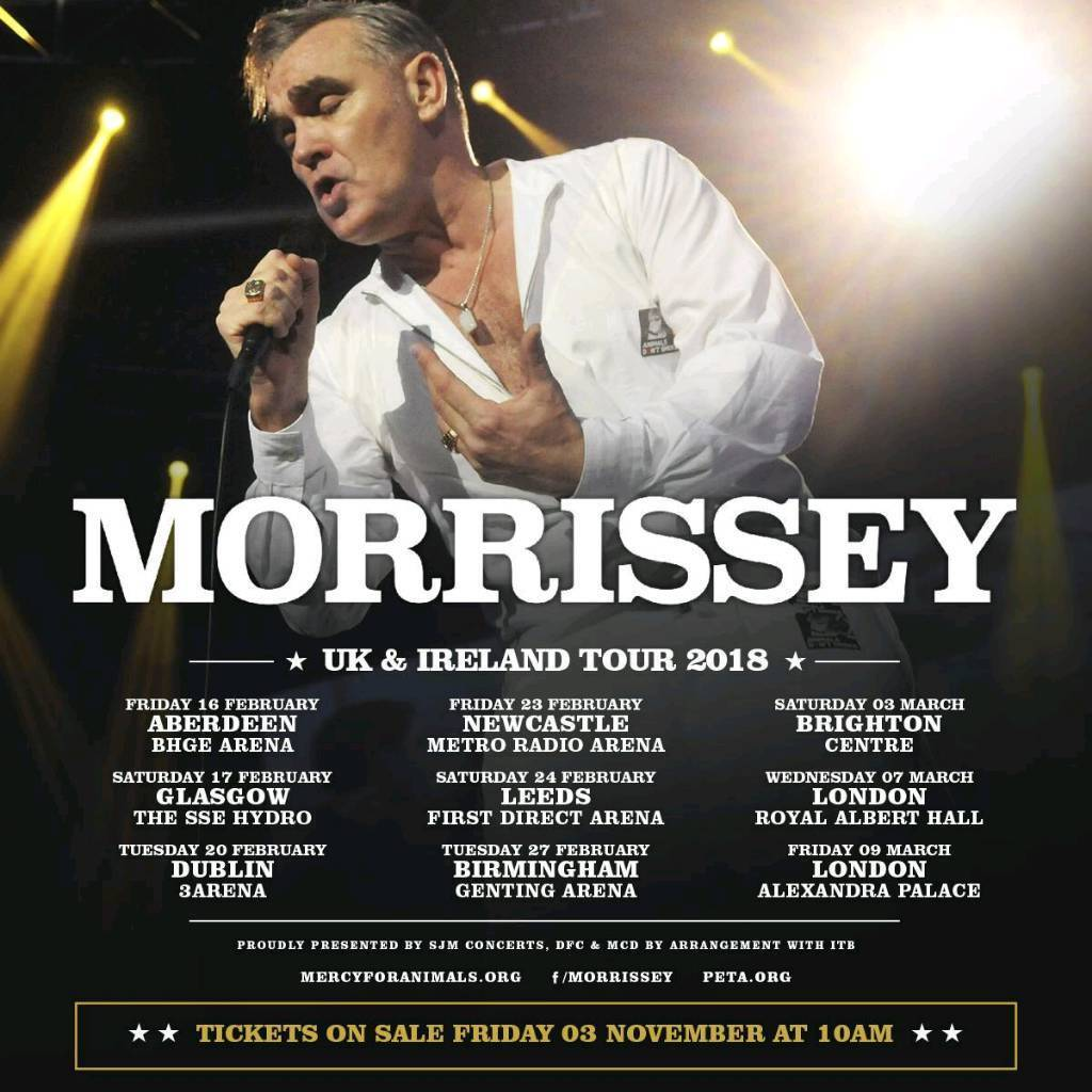 *FRONT ARENA* 2x MORRISSEY TICKETS ROYAL ALBERT HALL