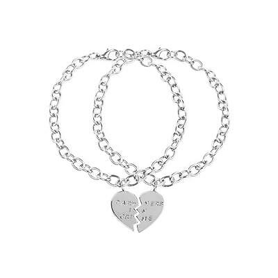 Lux Accessories  Partners in Crime BFF Best Friends Heart Charm Bracelets (2