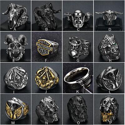 Mens Gothic Punk Skull Biker Ring 316L Stainless Steel Vintage Steampunk -