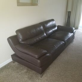brown leather 2 & 3 seater sofas