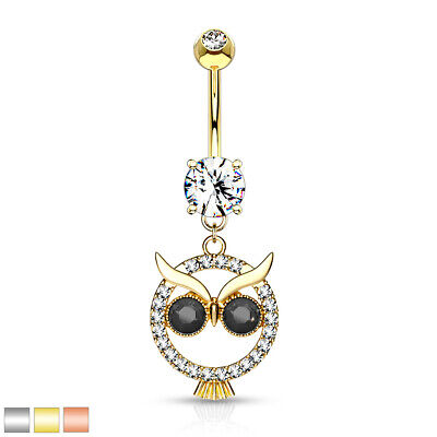 1pc Crystal Paved Owl Belly Ring Pierced Navel Naval Piercing Body