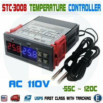 Stc-3008 110v Dual Led Digital Thermostat Temperature Controller 2 Ntc Probes