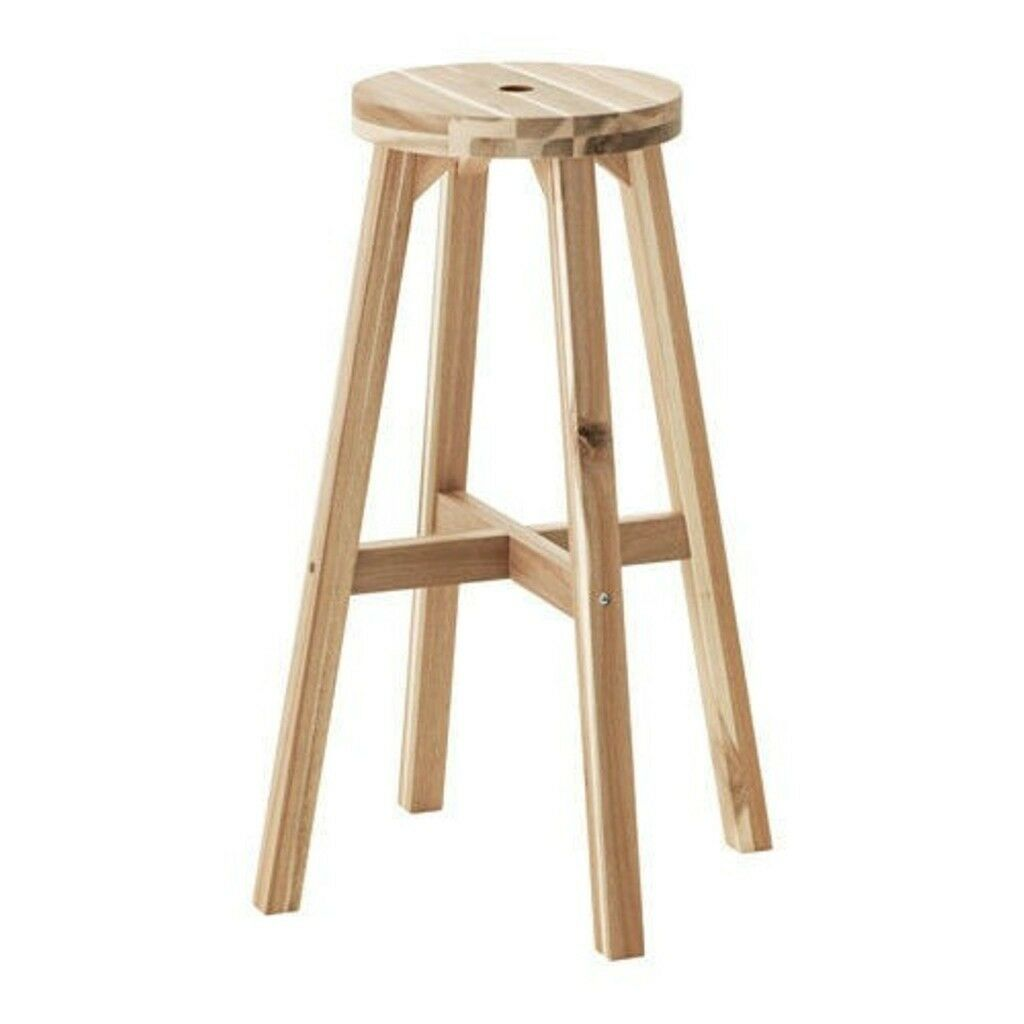 2x Ikea Skogsta Bar Stool Solid Wood 70cm In Kilburn London