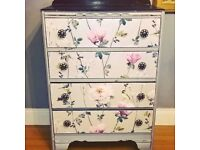 Beautiful Antique Laura Ashley covered Chest of Drawers