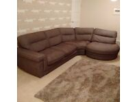 Corner Chaise Sofa, brown fabric (delivery possible)