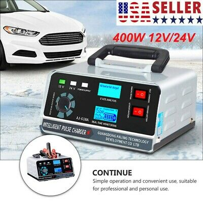 400W Heavy Duty Smart Pulse Car Battery Charger Automatic Repair For Car/Van USA