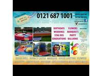 Bouncy castle chocolate fountain rodeo bull marquee hire
