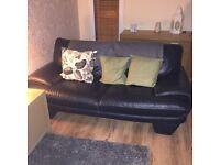Reids black leather two seater sofa free!!!!!